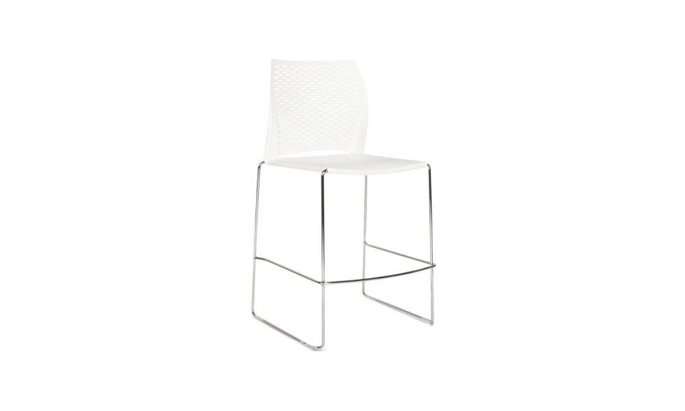 white stool with chrome base